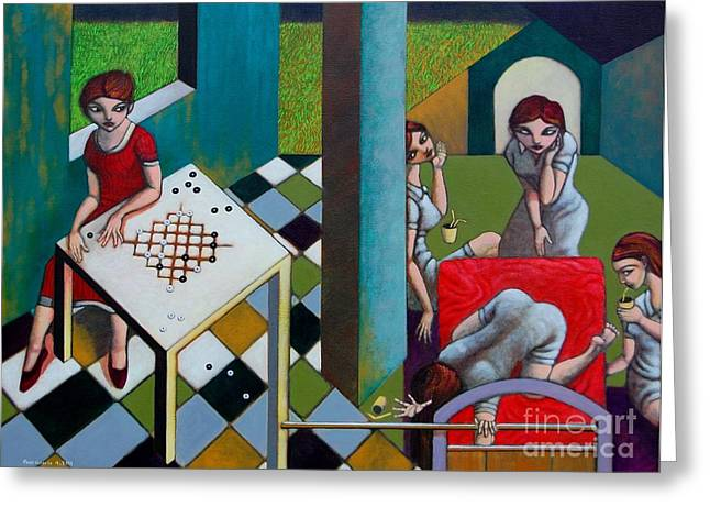 Strategy Paintings Greeting Cards - Employee of the Month Greeting Card by Paul Hilario