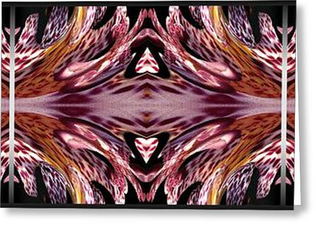 Geometric Artwork Greeting Cards - Empress Abstract Triptych Greeting Card by J McCombie