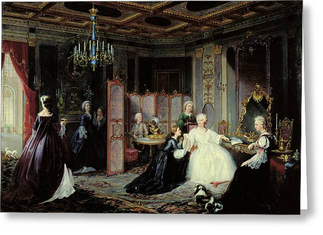 Empress Catherine The Great 1729-96 Receiving A Letter, 1861 Oil On Canvas Greeting Card by Jan Ostoja Mioduszewski