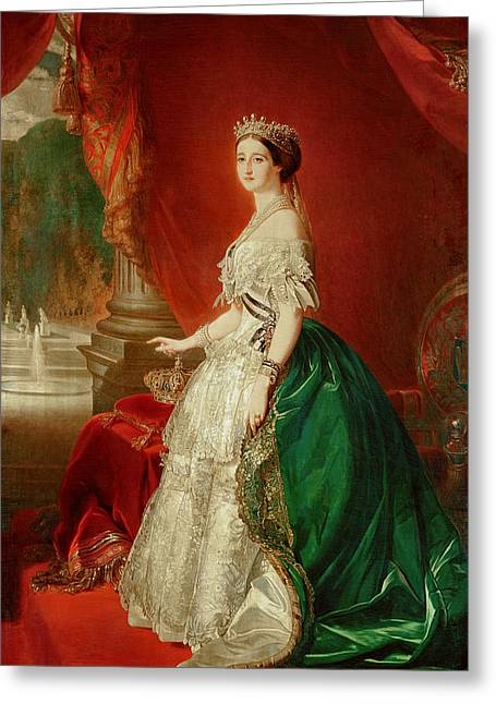 Full-length Portrait Greeting Cards - Empress Eugenie Of France 1826-1920 Wife Of Napoleon Bonaparte Iii 1808-73 Oil On Canvas Greeting Card by Franz Xaver Winterhalter