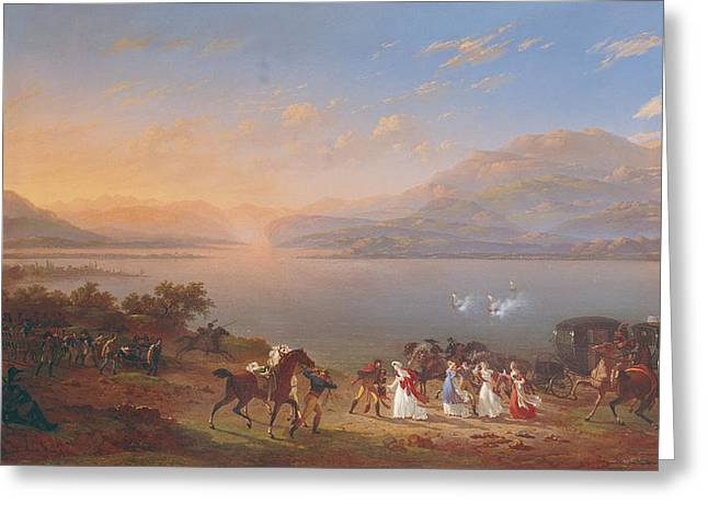 Carriages Greeting Cards - Empress Josephine 1763-1814 Arriving To Visit Napoleon 1769-1821 In Italy On The Banks Of Lake Greeting Card by Hippolyte Lecomte