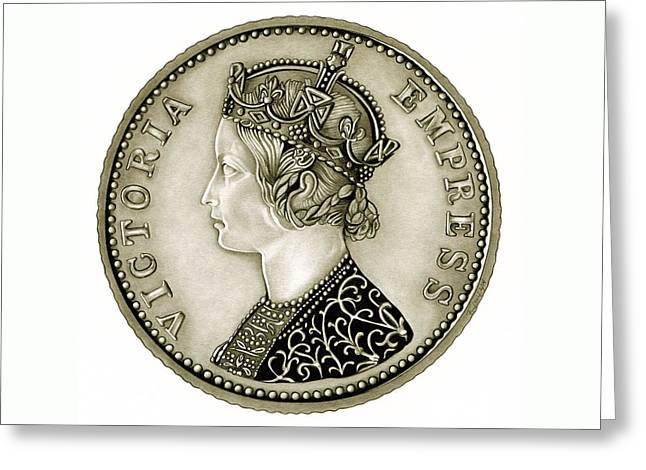 Silver Coins Greeting Cards - Silver Empress Victoria Greeting Card by Fred Larucci