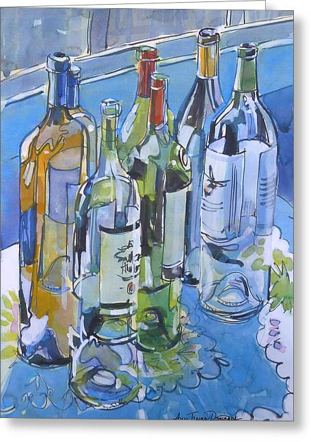 Label Greeting Cards - Empties Enjoyed Greeting Card by Ann Trainor Domingue