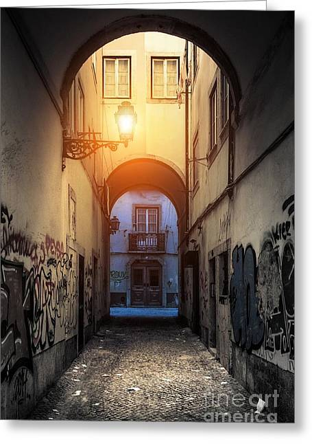 Sidewalks. Arches Greeting Cards - Empty Alley Greeting Card by Carlos Caetano