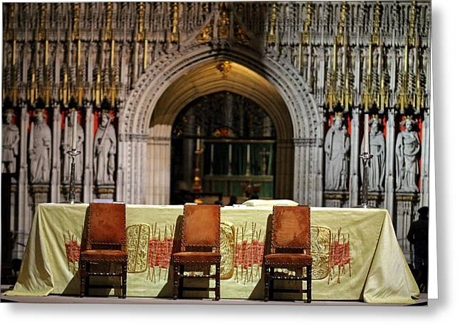 Statue Portrait Photographs Greeting Cards - Empty Altar Greeting Card by Chris Whittle