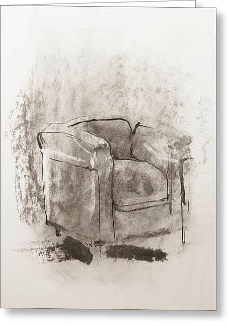 Ghostly Paintings Greeting Cards - Empty armchair Greeting Card by Janet Goddard