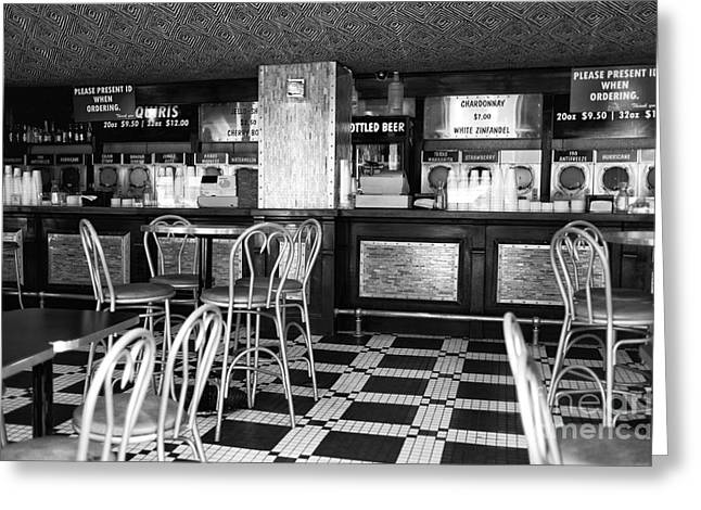 Empty Chairs Greeting Cards - Empty Bar on Bourbon mono Greeting Card by John Rizzuto