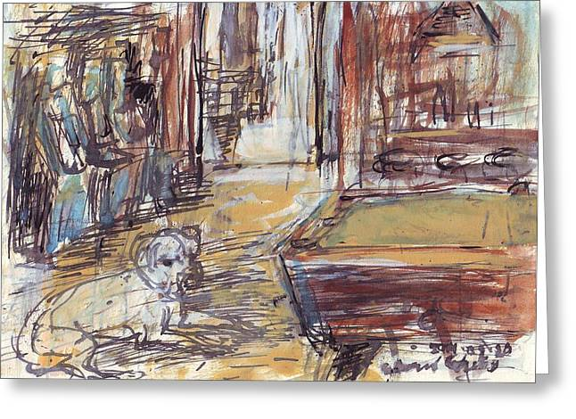 Mascots Drawings Greeting Cards - Empty Bar with Dog and Pool Table Greeting Card by Edward Ching