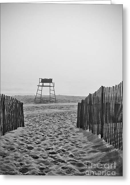 Foggy Beach Greeting Cards - Empty Beach Greeting Card by K Hines