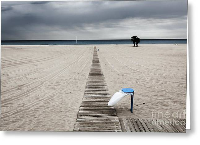 Disability Greeting Cards - Empty Beach On An Overcast Windy Day With Rubbish Bin Greeting Card by Peter Noyce