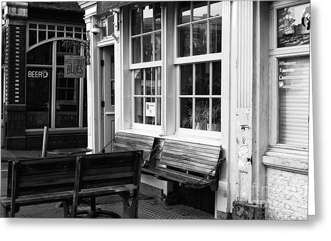 Empty Bench Greeting Cards - Empty Benches in Amsterdam Greeting Card by John Rizzuto