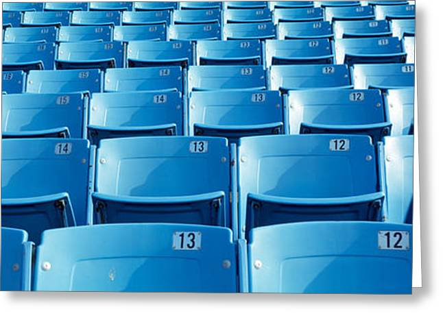 Blue Chairs Greeting Cards - Empty Blue Seats In A Stadium, Soldier Greeting Card by Panoramic Images