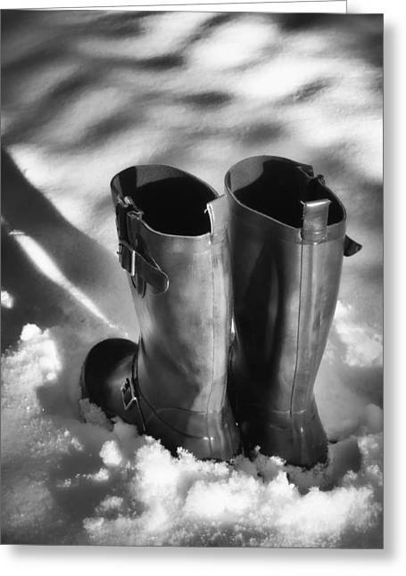 Boot Greeting Cards - Boots in Snow Greeting Card by Wim Lanclus