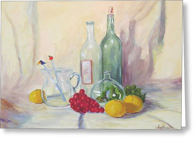 Fruit And Wine Greeting Cards - Still Life with Glass and Fruit Greeting Card by Jean Costa