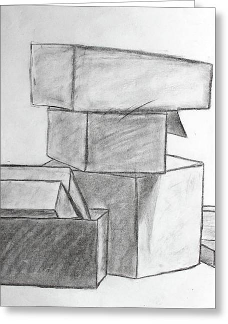 Cardboard Drawings Greeting Cards - Empty Boxes Greeting Card by Caitlin Fielding