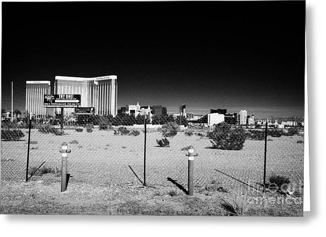 Downturn Greeting Cards - empty building lot on the edge of the strip in paradise Las Vegas Nevada USA Greeting Card by Joe Fox