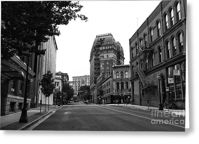 Dominion Greeting Cards - Empty Cambie Street Greeting Card by John Rizzuto