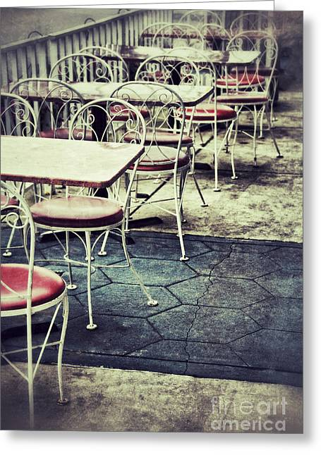 Old Diner Seating Greeting Cards - Empty Chairs and Tables Outside at Restaurant Greeting Card by Birgit Tyrrell