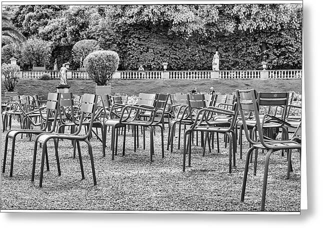 Empty Chairs At The Luxembourg Gardens In Paris Greeting Card by Georgia Fowler