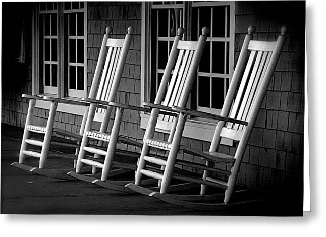 Ladder Back Chairs Greeting Cards - .Empty Chairs. Greeting Card by Lynn E Harvey