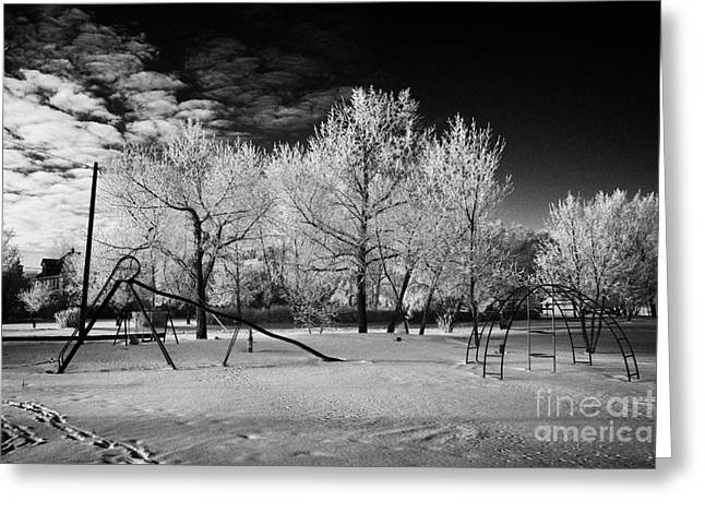 Harsh Conditions Photographs Greeting Cards - empty childrens playground with hoar frost covered trees on street in small rural village of Forget  Greeting Card by Joe Fox