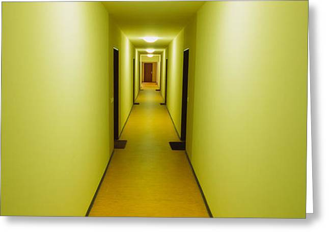 Confined Greeting Cards - Empty Corridor Of A Building Greeting Card by Panoramic Images