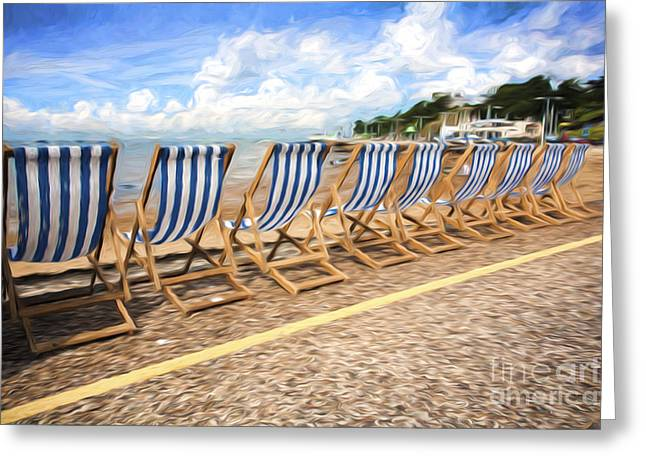 Empty Chairs Photographs Greeting Cards - Empty deckchairs at Southend on Sea Greeting Card by Sheila Smart