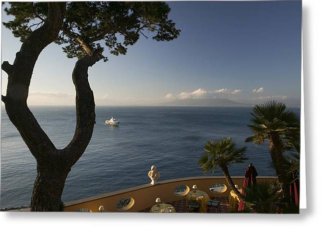 Naples Greeting Cards - Empty Dining Tables In The Balcony Greeting Card by Panoramic Images