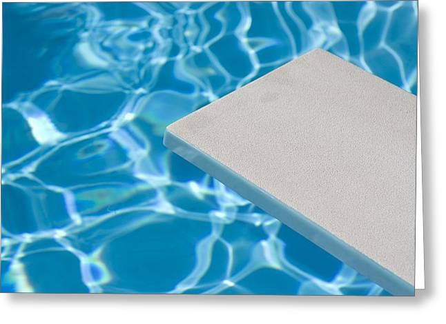 Recreational Pool Greeting Cards - Empty Diving Board And Water Greeting Card by Daniel Sicolo