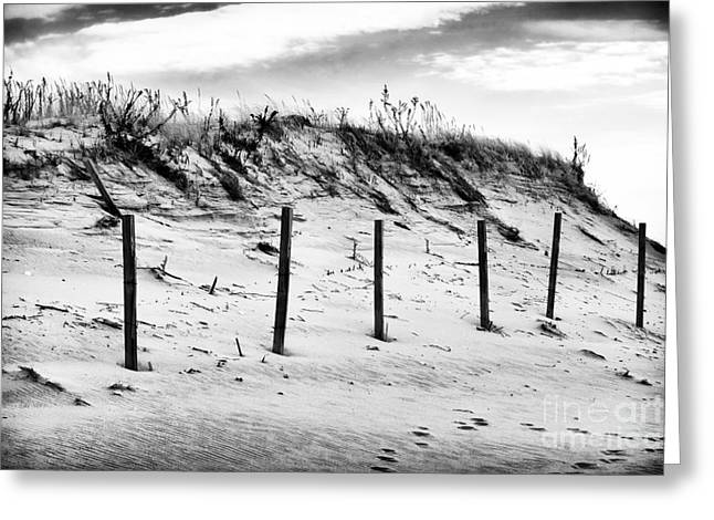 Fence Pole Greeting Cards - Empty Dune Greeting Card by John Rizzuto