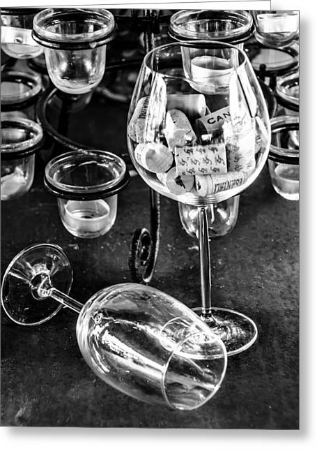 Glass Table Reflection Greeting Cards - Empty Glasses Greeting Card by Sotiris Filippou