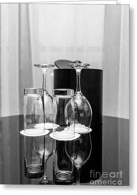 Empty Glasses Greeting Card by Svetlana Sewell
