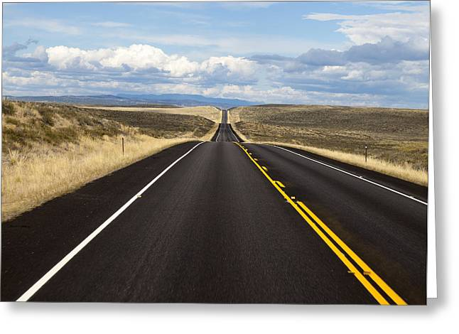Scenic Drive Greeting Cards - Empty Highway Image Art Greeting Card by Jo Ann Tomaselli