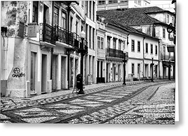 Empty Street Greeting Cards - Empty in Aveiro Greeting Card by John Rizzuto