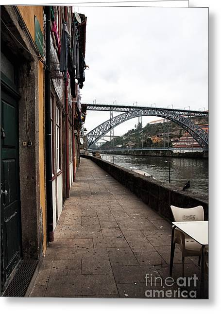Empty Street Greeting Cards - Empty in Porto Greeting Card by John Rizzuto