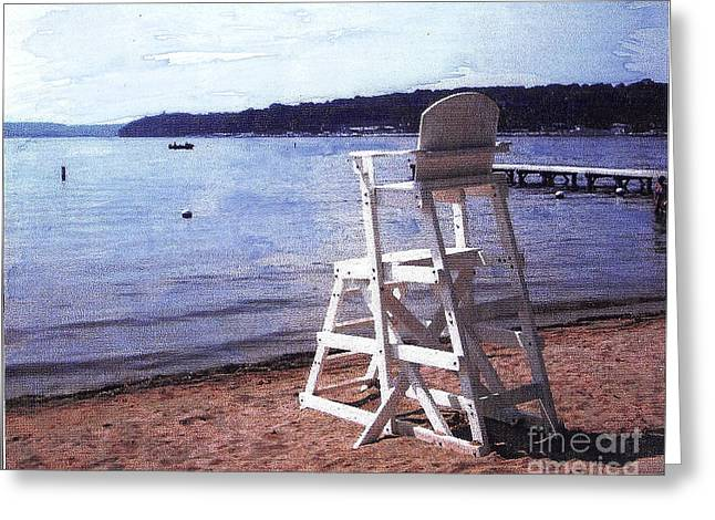 Fed Mixed Media Greeting Cards - Empty Lake Empty Beach Summers Out of Reach  Williams Bay  WI Greeting Card by Jane Butera Borgardt
