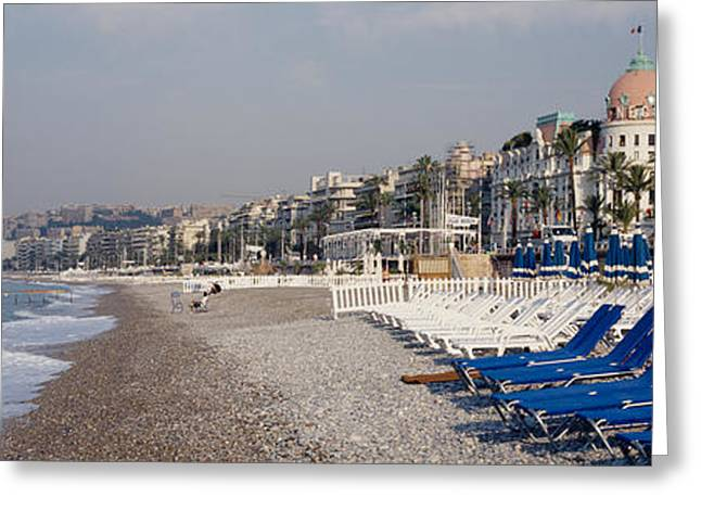 Lounge Photographs Greeting Cards - Empty Lounge Chairs On The Beach, Nice Greeting Card by Panoramic Images