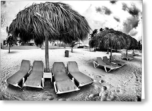 Empty Chairs Greeting Cards - Empty Lounges Greeting Card by John Rizzuto