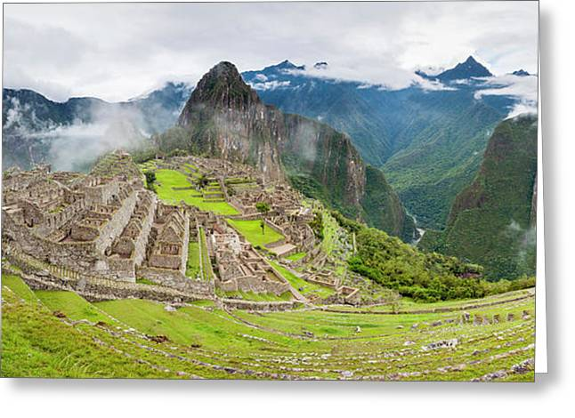 Empty Machu Picchu Complex Early Greeting Card by Panoramic Images
