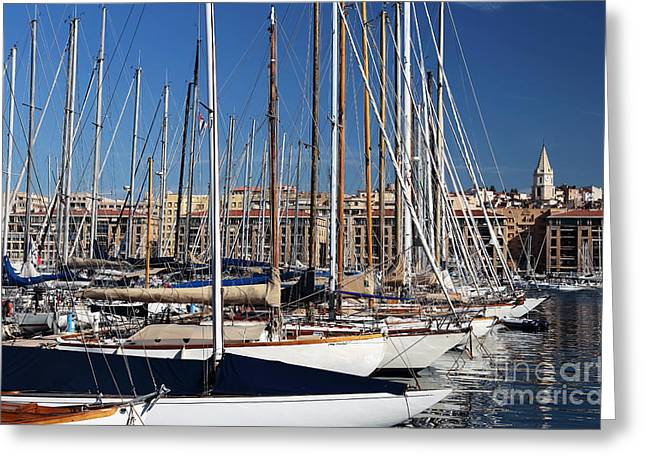 Sailboat Photos Greeting Cards - Empty Masts in Vieux Port Greeting Card by John Rizzuto