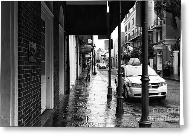 Empty Street Greeting Cards - Empty New Orleans mono Greeting Card by John Rizzuto