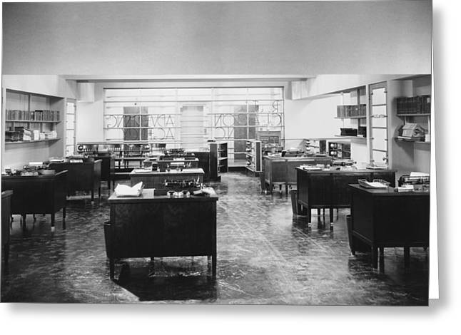 Empty Office Scene Greeting Card by Underwood Archives
