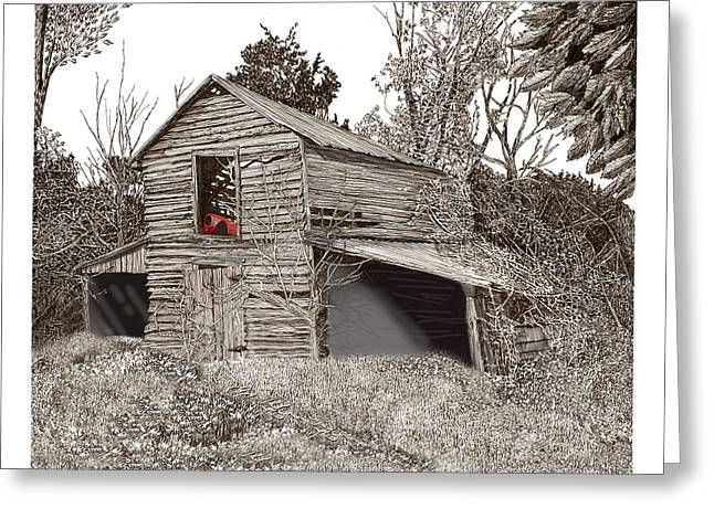 Old Barns Drawings Greeting Cards - Empty old barn Greeting Card by Jack Pumphrey