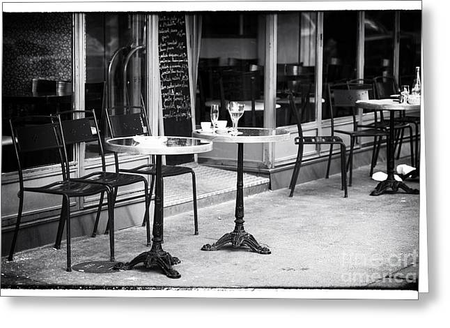 Table And Chairs Greeting Cards - Empty Paris Cafe Greeting Card by John Rizzuto