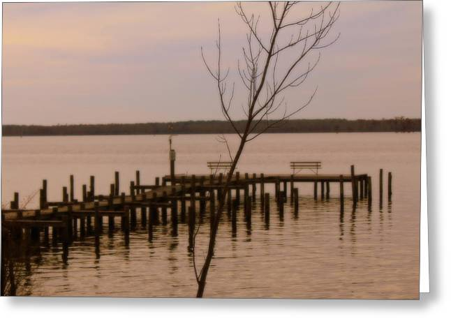 Empty Pier Greeting Card by Carolyn Ricks