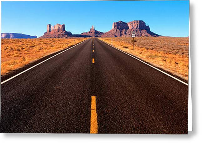 Roadway Greeting Cards - Empty Road, Clouds, Blue Sky, Monument Greeting Card by Panoramic Images