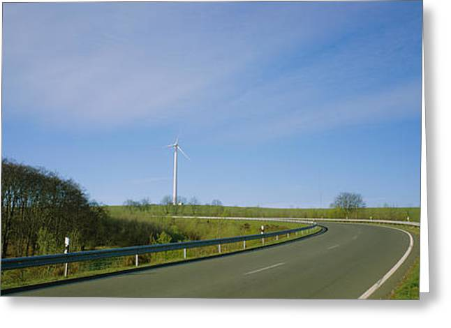 Environmental Conservation Greeting Cards - Empty Road Passing Through A Landscape Greeting Card by Panoramic Images