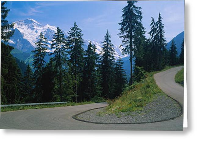 Winding Road Greeting Cards - Empty Road Passing Through Mountains Greeting Card by Panoramic Images
