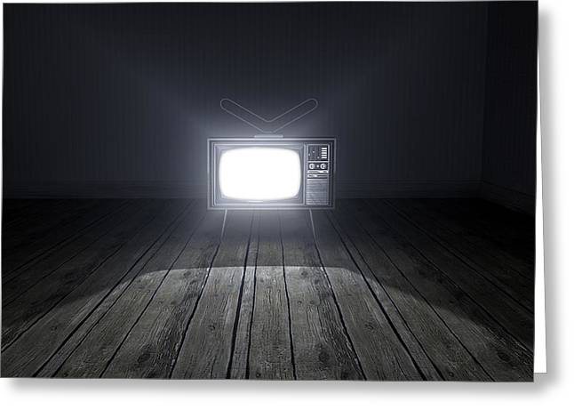 Broadcast Antenna Greeting Cards - Empty Room With Illuminated Television Greeting Card by Allan Swart