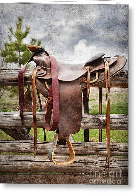 Fence Pole Greeting Cards - Empty Saddle Greeting Card by Cindy Singleton